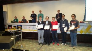 Receiving my Best Student Paper prize with other prize recipients.